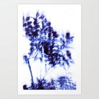 Impressionist leaves ~ indigo series 1 Art Print