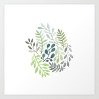 watercolor plants Art Print