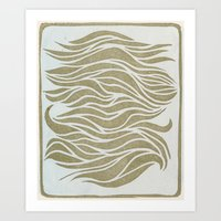 Wave Lines Woodblock Art Print