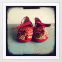 Two red shoes Art Print