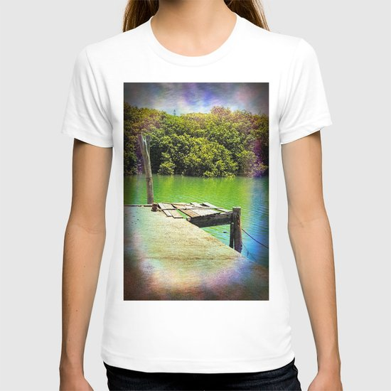 Dilapidated wharf on a tranquil river T-shirt