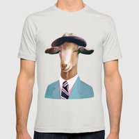 Goat Mens Fitted Tee Silver SMALL