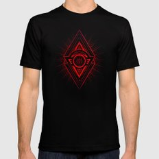 The Eye of Providence is watching you! (Diabolic red Freemason / Illuminati symbolic) Mens Fitted Tee Black SMALL
