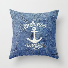 White Nautical Anchors Blue Vintage Wood Texture Throw Pillow