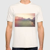 Retro Mountain Lake Mens Fitted Tee Natural SMALL