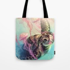 Sea Turtle and Jellyfish! Tote Bag
