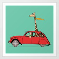Giraffe 2CV on the wind Art Print