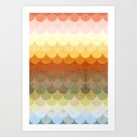 Half Circles Waves Color Art Print