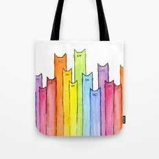 Cat Rainbow Watercolor Pattern Tote Bag