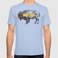 Wild & Free (Bison) Mens Fitted Tee Tri-Blue SMALL