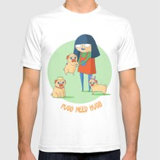 Pugs need hugs Mens Fitted Tee White SMALL