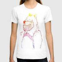 Bear Color Womens Fitted Tee White SMALL