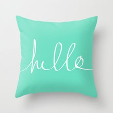 Hello x Mint Throw Pillow