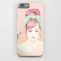lady iPhone & iPod Cases featuring Pink hair lady by Ariana Perez