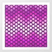 Dot Chevron: Pink Plum Art Print