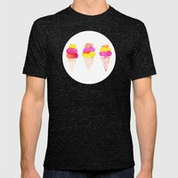 Colorful water color Ice Cream cone illustration pattern Mens Fitted Tee Tri-Black SMALL