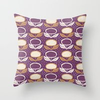 Sunflowers In Purple And… Throw Pillow