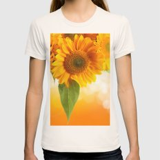 Nice Sunflowers Womens Fitted Tee Natural SMALL
