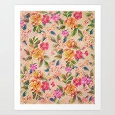 Golden Flitch (Digital Vintage Retro / Glitched Pastel Flowers - Floral design pattern) Art Print
