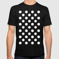 Polka Dots (White/Tiffany Blue) Mens Fitted Tee Tri-Black SMALL