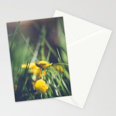 Yellow Flower in Green Grass Stationery Cards