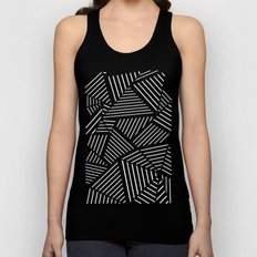 Abstraction Linear Zoom Navy Unisex Tank Top