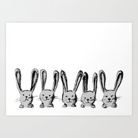 Rabbit Family Art Print