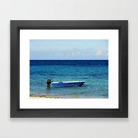Blue Boat Red Stripe In … Framed Art Print
