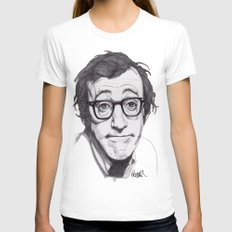Woody Allen Womens Fitted Tee White SMALL