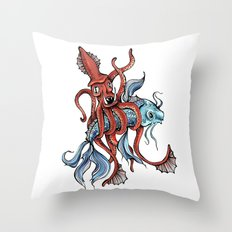 Squid and Fish Throw Pillow