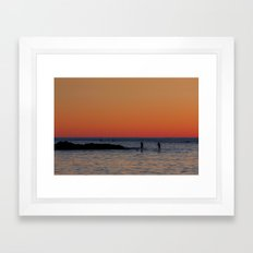 Paddleboarding Pairs - Mackinzie Beach Sunset Framed Art Print