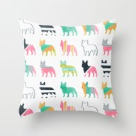 Throw Pillow featuring French Bulldogs by Anne Was Here