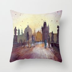 Prague, Watercolor Explo… Throw Pillow