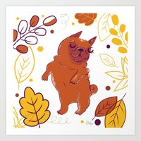 Happy Fall, Dogs! (Pug) Art Print