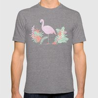 Tropical Flamingo Mens Fitted Tee Tri-Grey SMALL