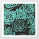 Polka dot roses in mint Art Print