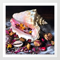 Maritime Symphony  with Sea Shells and Roses Art Print
