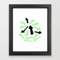 Green and Black Arrow -  print series Framed Art Print