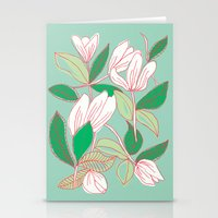 Floating Tulips (mint green) Stationery Cards