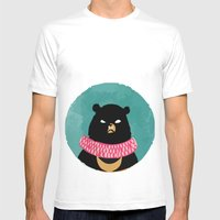 CIRCUS BEAR Mens Fitted Tee White SMALL