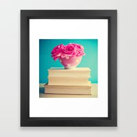 Book And Flowers Framed Art Print