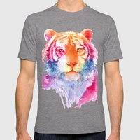 Rainbow stripes Mens Fitted Tee Tri-Grey SMALL