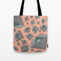 Mint and Gray Diamond on Peach Tote Bag