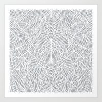 Abstract Lace on Grey Art Print