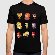 Chibi Heroines Set 3 SMALL Mens Fitted Tee Black