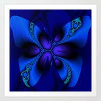 blue larkspur butterfly Art Print