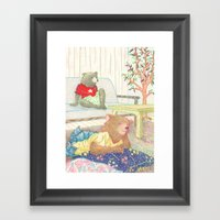 Everyday Animals- Little Bears lounge around Framed Art Print