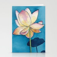 Lotus On Blue Stationery Cards