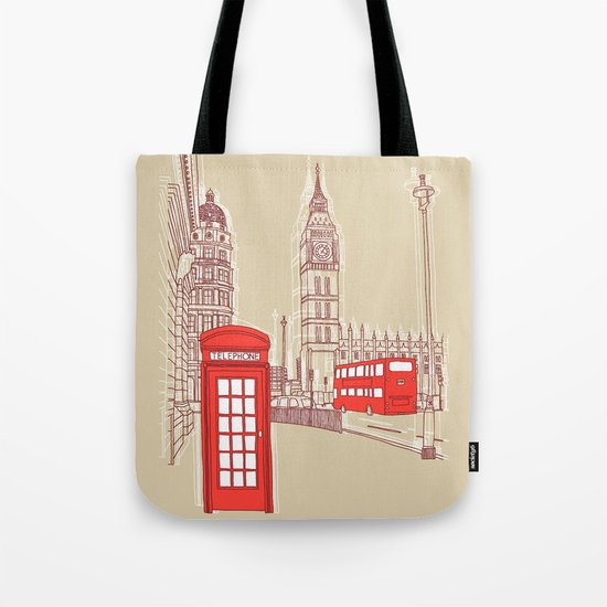 City Life // London Red Telephone Box Tote Bag