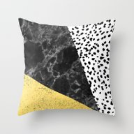 Mele - Gold Abstract Pai… Throw Pillow